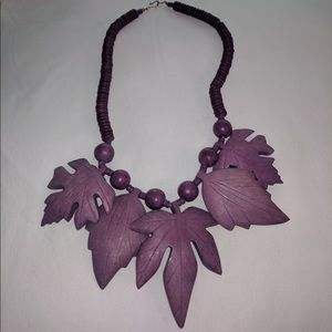 Wooden Purple Leaf Necklace